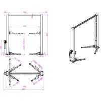 Подъемник двухстоечный г/п 4000 кг. электрогидравлический KraftWell арт. KRW4DLU #3