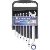 Licota ARW-11MK06 Набор ключей трещоточных комбинированных 72 зуба 8-19 мм, 7 предметов на пластиковом держателе