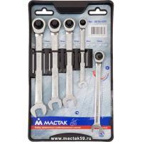 Набор комбинированных трещоточных ключей, 8-14 мм, 5 предметов МАСТАК 0213-05T
