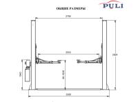 Подъемник двухстоечный с нижней синхронизацией 4 т Puli  PL4.0-2D (3Ф.х380В)