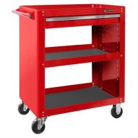 Тележка инструментальная открытая, 3 полки и ящик, красная МАСТАК 520-01580R